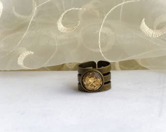 Wide Band Ring set in a Antique Brass Setting, Adjustable, Gift for Her, 12mm