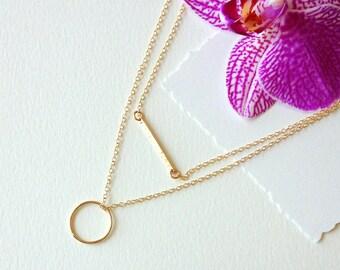 Gold Necklace Set•Set of 2 Necklaces/ Gold Circle Necklace - Gold Bar Necklace•Layer Necklaces //Gift Ideas -Layering Pieces LPN-24-G-C440