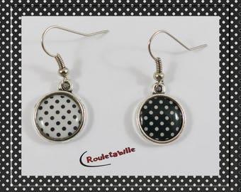 Dangle earrings, cabochon, asymmetric, black and white polka dots