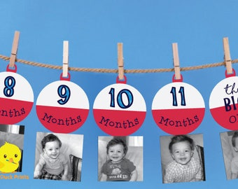 1 - 12 Month Fishing Bobber Photo Banner | The Big One Fishing Birthday | Bobber Milestone banner | Fishing Birthday Decorations | DIGITAL