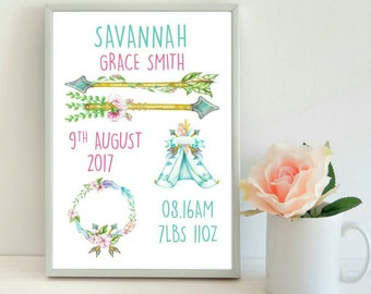 Personalised New Baby Print, New Baby Girl Print, Tribal Print, Nursery Print