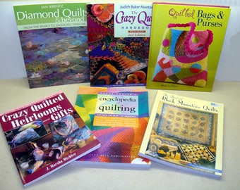 Quilt book lot-quilt book collection-quilting books-quilted bags purses book-crazy quilt book-encyclopedia of quilting-antique quilts