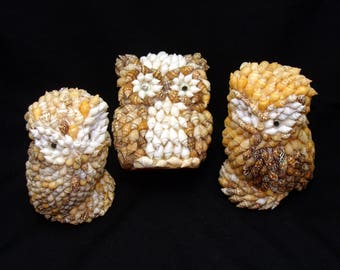 Vintage owl lot-shell owls collection-kitsch beach house