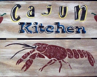 Cajun Kitchen Crawfish New Orleans Primitive Rustic Wood Sign Wall Home Decor