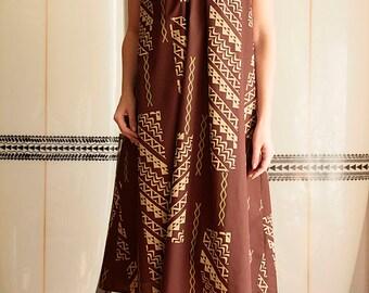 Ginger dress, Tapa,Brown , Beige, hawaiian fabric,HNLS02615-54210