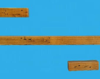 reclaimed wood shelf set of 3,stained colonial pine and distressed-set 654