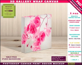 10x10 Gallery Wrap Canvas 1.5in Deep | Photoshop Print Mockup Photo Edge | Square Photo Canvas on Table | Smart object Custom colors