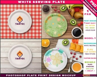 White Serving Plate   Photoshop Print Mockup SP1-1   Movable tray   Table Styling   Breakfast Fruits   Smart object Custom color