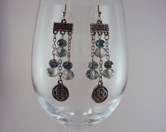 Iridescent Crystals & Celtic Knot Chandelier Earrings