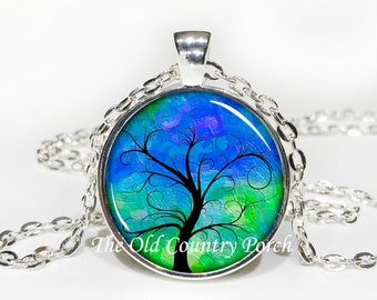 Tree of Life Blue/Green-Glass Pendant Necklace/Graduation gift/mothers day/bridal gift/Easter gift/Gift for her/girlfriend gift/friend gift