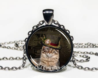 """Steampunk Cat """"Duke Fancy Hat""""-Glass Pendant Necklace/Graduation gift/mothers day/funny gift/Gift for her/girlfriend gift/friend gift"""
