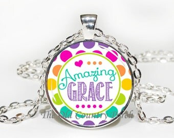 Amazing Grace-Glass Pendant Necklace/Graduation gift/mothers day/bridal gift/Easter gift/Gift for her/girlfriend gift/friend gift