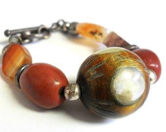 Vintage Wood & Stone Silver Toggle Bracelet