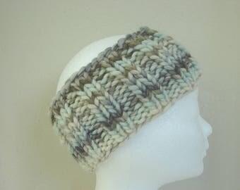 Knit ear warmer soft white light blue / green gray teen warm comfortable winter chunky headband girl teenager chunky ear warmer soft colors