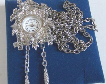 Unique Vintage Silver-toned Cuckoo Clock Pendant - Free Shipping in the US!