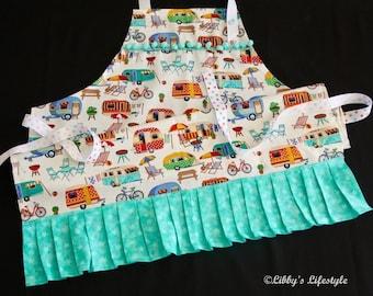 Vintage caravans women's apron. Handmade.