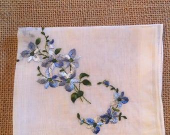 Blue flowers, vintage handkerchief, bridal