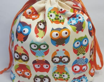 "Medium Lined DRAWSTRING Bag, OWLS, #81, 13""x8""x4"", project bag, storage bag"