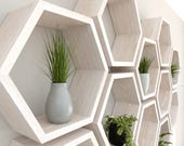 White Hexagon Wall Shelf in Solid Oak |  Limed Oak Set of Honeycomb Shelves | Hexagon Shelf