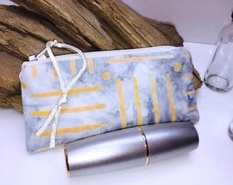 Ice Blue Zipper Pouch, Batik Lipstick Case, Essential Oil Pouch, Lip Balm Case, Essential Oil Bag, Doterra Oil Storage, Small Change Purse