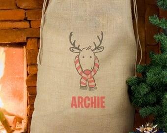 Personalised Christmas Sack Personalised Reindeer Hessian Sack Personalised Gift Personalised Christmas Stocking First Christmas Xmas