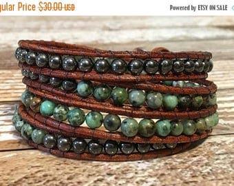 SUMMER SALE African Turquoise Chan Luu Style Wrap Bracelet / Healing Crystal Bracelet / Chan Luu Bracelet / Chakra Bracelet