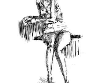 Female Figure 2, Pen & Ink Drawing - Art Print