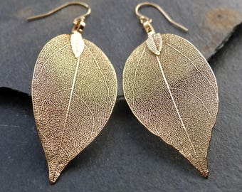 Real leaf earrings, 18K gold leaf earrings, dipped leaves, natural woodland jewelry