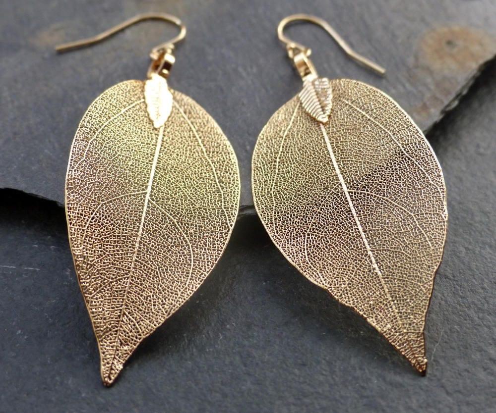 Real Leaf Earrings 18k Gold Leaf Earrings Dipped Leaves