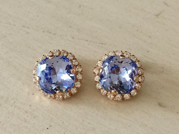Provence Lavender & Clear Swarovski Crystal Clip On Earrings, Rose Gold