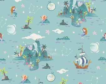 1 Yard Neverland by JIll Howarth for Riley Blake Designs- 6572 Mint Neverland Island