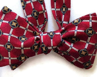 Silk Bow Tie  for Men - Templar - One-of-a-Kind, Handcrafted - Self-tie - Free Shipping