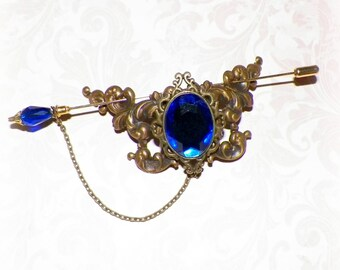 Shawl Pin Brooch Blue Sapphire Victorian Vintage Antique Gold Style Scarf Pin Hair Slide Edwardian Filigree Stick Pin