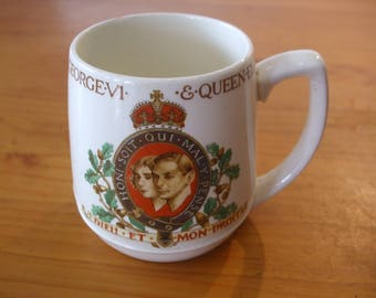 Mintons 1937 Coronation mug - King George VI and Queen Elizabeth
