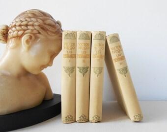 """V. Hugo """"Les Miserables"""" French Nelson Books Paris COMPLETE 4 Volumes"""