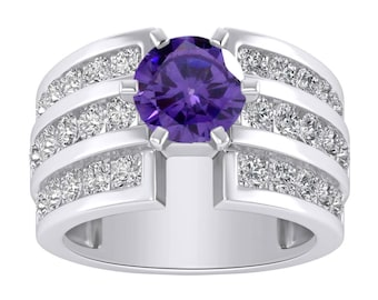 2.50 Ct Amethyst & Diamond Solitaire with Accents 3-Row Wedding Engagement Ring In 14K White Gold