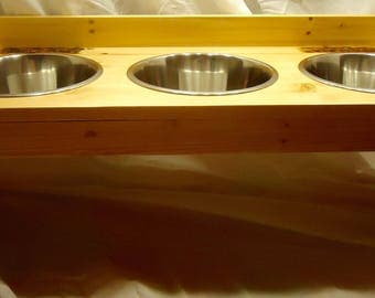 Wood 3 Bowl Dog Feeder 4 sizes