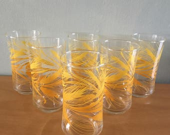 Darling vintage set of 6 Libbey water glasses / iced tea lemonade tumblers in classic retro Yellow Wheat for Old Florida kitchen table!