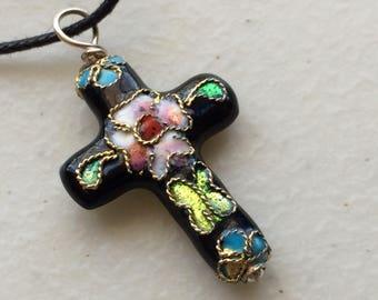 Cloisonné Enamel Painted Floral Cross Pendant, .925 Sterling Silver necklace on black adjustable cord, choice of colors