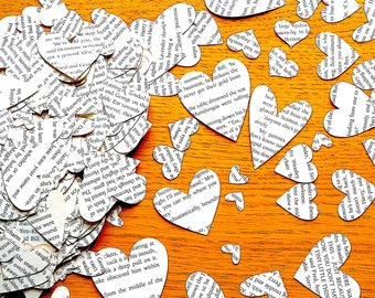 Harry Potter Confetti Shapes - Harry Potter Wedding-  Book Paper Shapes - 400 Harry Potter Paper Hearts -  Table Decor