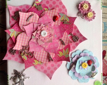 Paper Flowers Button Flowers Button Art Pink Flowers Vintage Buttons Silver Bee Eiffel Tower Handmade Flowers Ladybug Art Pink Flower Art