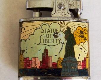 Vintage Collectible Statue of Liberty New York Enamelware Souvenir Lighter
