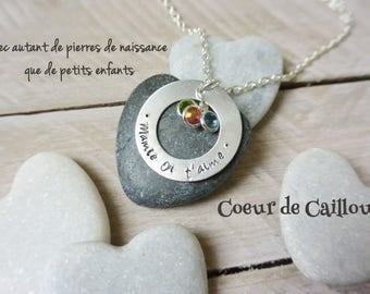Personalized necklace for Grandma & birthstones