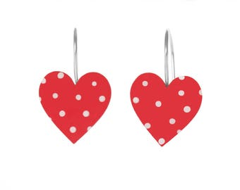 Heart Earrings with Polka Dots - Enameled Stainless Steel, Heart Jewelry
