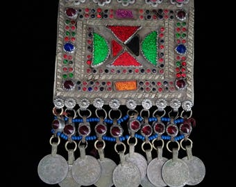 Big Colorful Kuchi Pendant with Coins Unique Tribal Afghan Necklace Focal