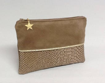 wallet for woman/vegan wallet/ camel and gold wallet / mini gold pouch / bag pouch/