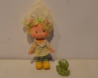 Vintage Strawberry Shortcake Doll Lemon With Her Pet Frappe Frog Meringue Kenner 1980