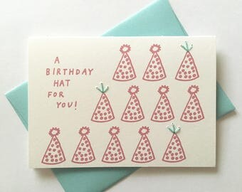 A Birthday Hat For You! Hand Stitched Greeting Card. Birthday Card!