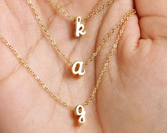 DAINTY SIZE layered choker Initial Choker gold initial Necklace, Bridesmaid Gift, Gold Layered Necklace - DCIN