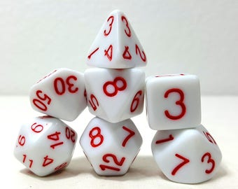 Perfect Plastic Dice - Gloss Polish with Ink - White / Red Ink